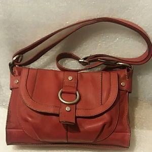 FOSSIL Red Leather CrossBody Bag